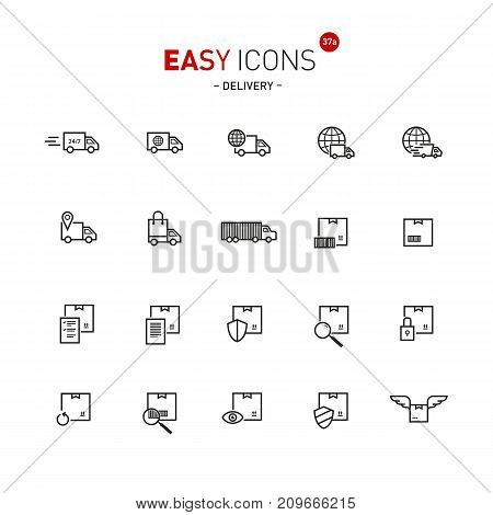 Vector thin line flat design icons set for delivery theme