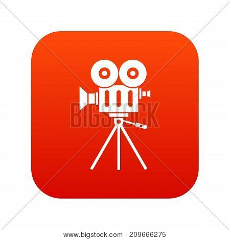 Camcorder icon digital red for any design isolated on white vector illustration