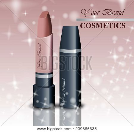 Realistic lipstick cosmetics on sparkling background. Nude Color collection. Cosmetic packaging, ad, mock up