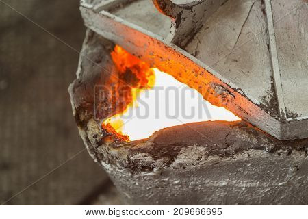 After pouring metal ladle for iron casting process ;