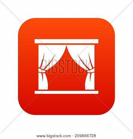 Curtain on stage icon digital red for any design isolated on white vector illustration
