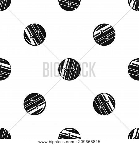 Round sewn button pattern repeat seamless in black color for any design. Vector geometric illustration