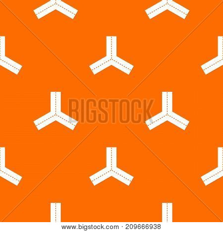 Three roads pattern repeat seamless in orange color for any design. Vector geometric illustration