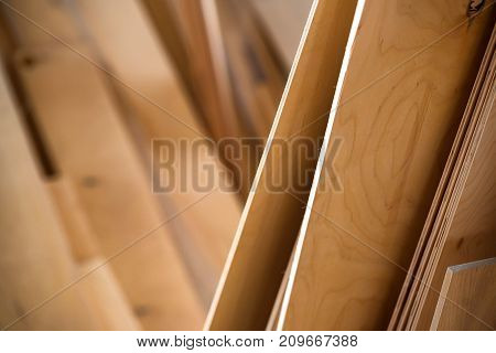 Close up of plywood sheets in woodworking shop