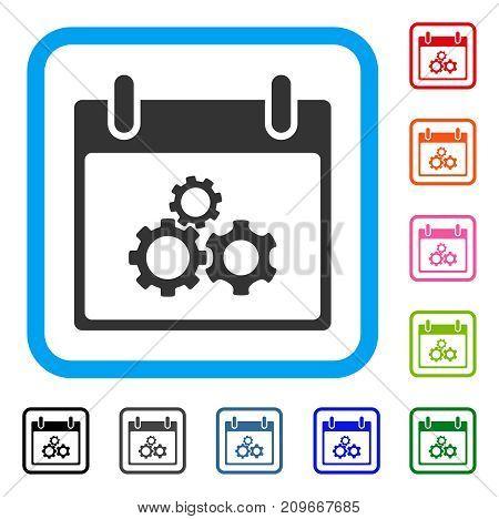Mechanics Gears Calendar Day icon. Flat grey pictogram symbol inside a light blue rounded frame. Black, gray, green, blue, red, orange color variants of Mechanics Gears Calendar Day vector.