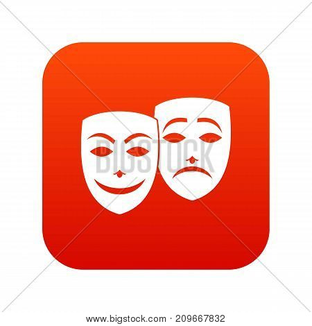 Carnival mask icon digital red for any design isolated on white vector illustration