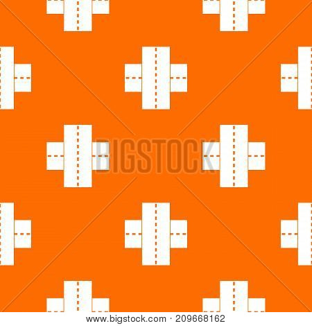 Two roads pattern repeat seamless in orange color for any design. Vector geometric illustration
