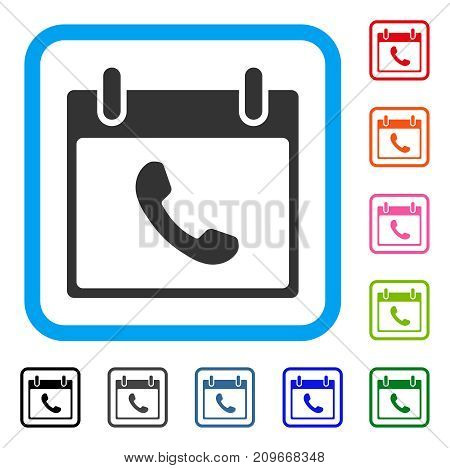 Phone Calendar Day icon. Flat gray pictogram symbol in a light blue rounded squared frame. Black, gray, green, blue, red, orange color additional versions of Phone Calendar Day vector.