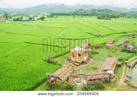 vintage coffee cafe in green rice paddy field taken in Nan North of Thailand on 12 October 2017