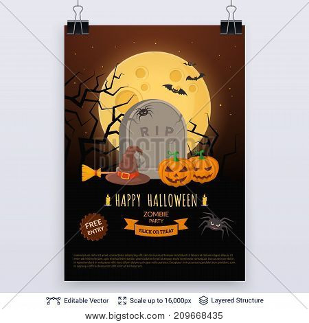 Jack pumpkins on grave and text block. Vector layered background .