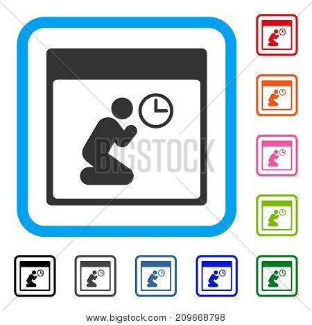Pray Clock Calendar Page icon. Flat grey pictogram symbol inside a light blue rounded rectangular frame. Black, gray, green, blue, red, orange color versions of Pray Clock Calendar Page vector.