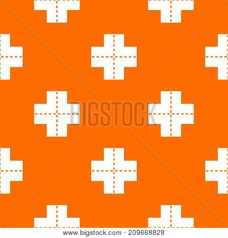 Crossroad pattern repeat seamless in orange color for any design. Vector geometric illustration