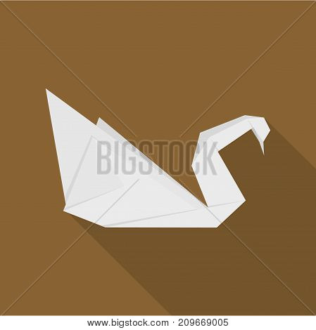 Origami swan icon. Flat illustration of origami swan vector icon for web