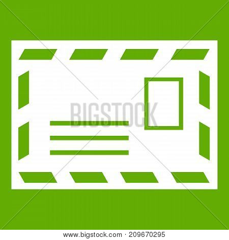 Postage envelope with stamp icon white isolated on green background. Vector illustration