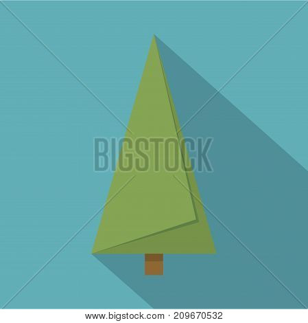 Origami fir tree icon. Flat illustration of origami fir tree vector icon for web