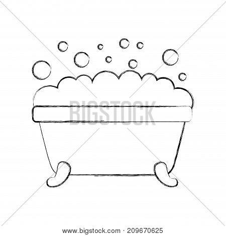 bathtub foam bubbles clean hygiene interior ceramic icon vector illustration