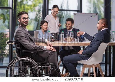 Smiling Disabled Businessman