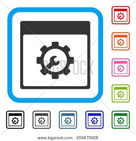 Setup Tools Calendar Page icon. Flat grey pictogram symbol inside a light blue rounded frame. Black, gray, green, blue, red, orange color versions of Setup Tools Calendar Page vector.