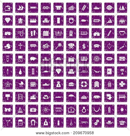 100 wealth icons set in grunge style purple color isolated on white background vector illustration