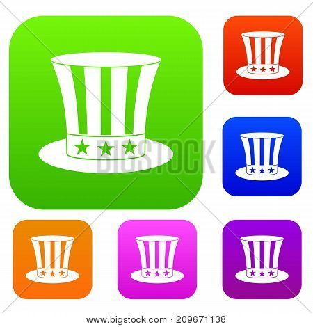 Uncle sam hat set icon color in flat style isolated on white. Collection sings vector illustration
