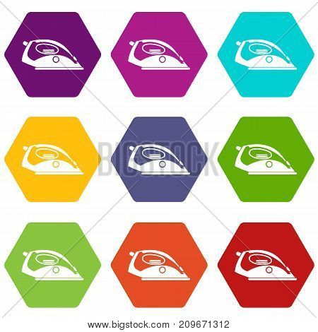 Iron icon set many color hexahedron isolated on white vector illustration