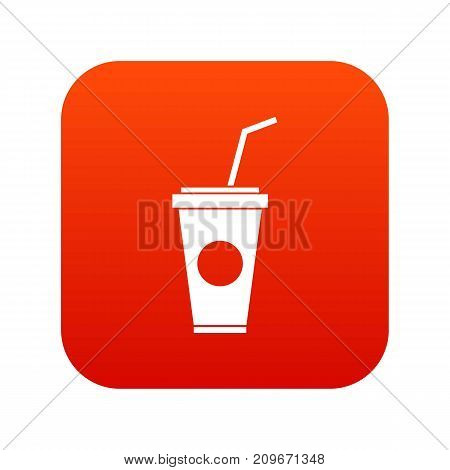 Paper cup with straw icon digital red for any design isolated on white vector illustration