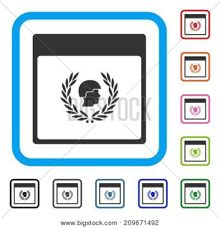 Soldier Laurel Wreath Calendar Page icon. Flat gray iconic symbol inside a light blue rounded rectangle. Black, gray, green, blue, red,