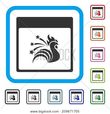 Sparkle Rooster Calendar Page icon. Flat gray pictogram symbol in a light blue rounded square. Black, gray, green, blue, red, orange color variants of Sparkle Rooster Calendar Page vector.