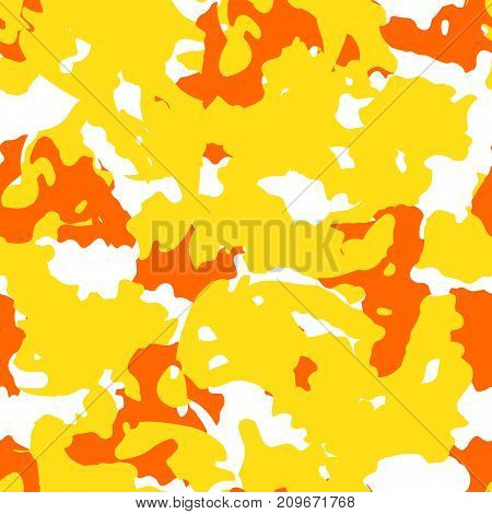 Yellow orange and white UFO camouflage is a bright seamless pattern that can be used as a camo print for clothing and background and backdropor computer wallpaper