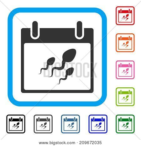Sperm Calendar Day icon. Flat grey pictogram symbol inside a light blue rounded frame. Black, gray, green, blue, red, orange color variants of Sperm Calendar Day vector.