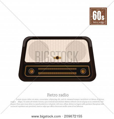 Retro radio in realistic style on white background. Old musical tuner. Technologies of 60s. Vintage brown wireless receiver. Vector illustration