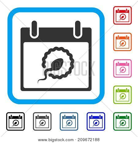 Sperm Insemination Calendar Day icon. Flat gray pictogram symbol inside a light blue rounded square. Black, gray, green, blue, red, orange color versions of Sperm Insemination Calendar Day vector.