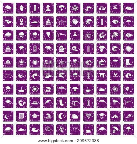 100 weather icons set in grunge style purple color isolated on white background vector illustration