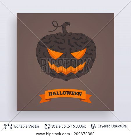 Carved jack lantern silhouette filled with bats pattern. Vector layered background with text block.