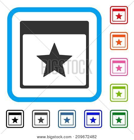 Star Calendar Page icon. Flat gray pictogram symbol in a light blue rounded rectangle. Black, gray, green, blue, red, orange color variants of Star Calendar Page vector.