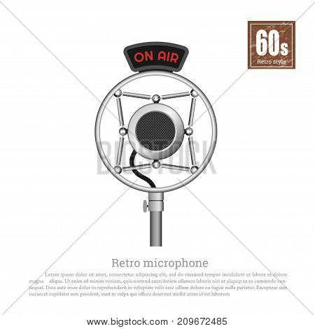 Retro microphone in realistic style on white background. Old musical studio  equipment. Technologies of 60s. Vintage object. Vector illustration