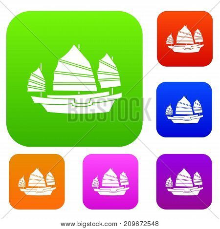 Junk boat set icon color in flat style isolated on white. Collection sings vector illustration