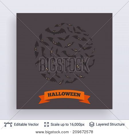 Round composition of flying bats. Vector layered background with text block.