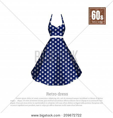 Retro dress in realistic style on white background. Old fashion. 60s vogue. Vintage blue cloth icon. Vector illustration