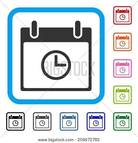Time Calendar Day icon. Flat grey iconic symbol in a light blue rounded squared frame. Black, gray, green, blue, red, orange color additional versions of Time Calendar Day vector.