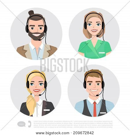 Vector icons set Male and female call center avatars in a cartoon style with a headset, conceptual of communication.