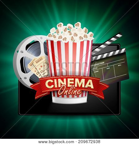 Online Cinema Banner Vector. Realistic Tablet. Popcorn, Drink, Clapping Board. Billboard Marketing Luxury Illustration