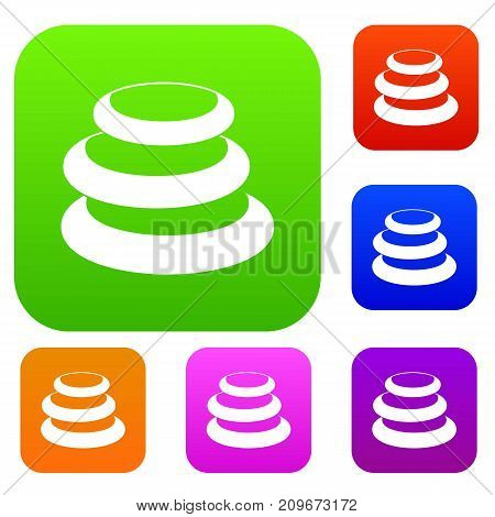 Stack of basalt balancing stones set icon color in flat style isolated on white. Collection sings vector illustration