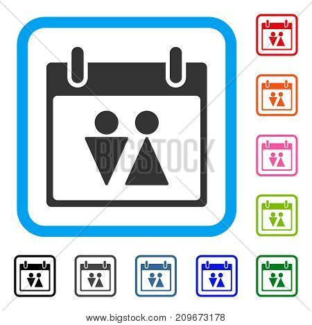 Toilet Calendar Day icon. Flat grey pictogram symbol inside a light blue rounded squared frame. Black, gray, green, blue, red, orange color additional versions of Toilet Calendar Day vector.