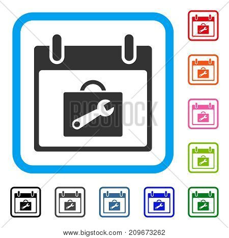 Toolbox Calendar Day icon. Flat gray iconic symbol inside a light blue rounded rectangle. Black, gray, green, blue, red, orange color additional versions of Toolbox Calendar Day vector.