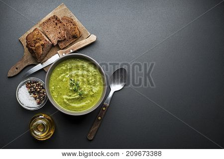 Fresh healthy vegetables green soup overhead shoot