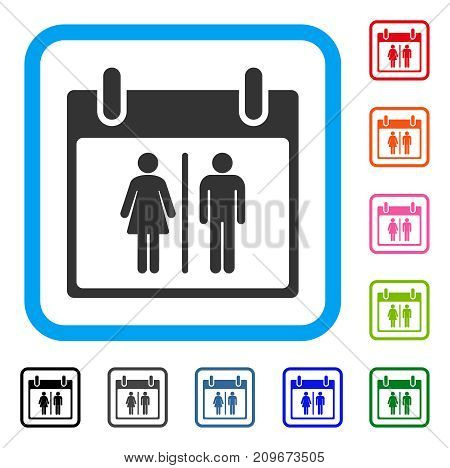 Water Closet Calendar Day icon. Flat gray iconic symbol in a light blue rounded rectangle. Black, gray, green, blue, red, orange color additional versions of Water Closet Calendar Day vector.