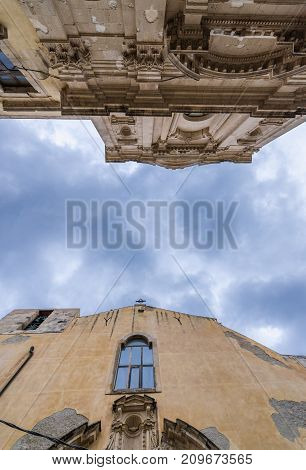 Carmine Church and former Del Ritiro Church on Ortygia isle Syracuse city Sicily Island in Italy