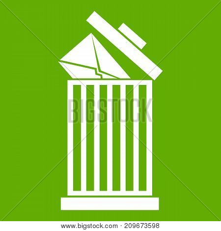 Envelope in trash bin icon white isolated on green background. Vector illustration