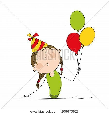 Happy girl with colorful balloons and party hat celebrating her birthday - original hand drawn illustration
